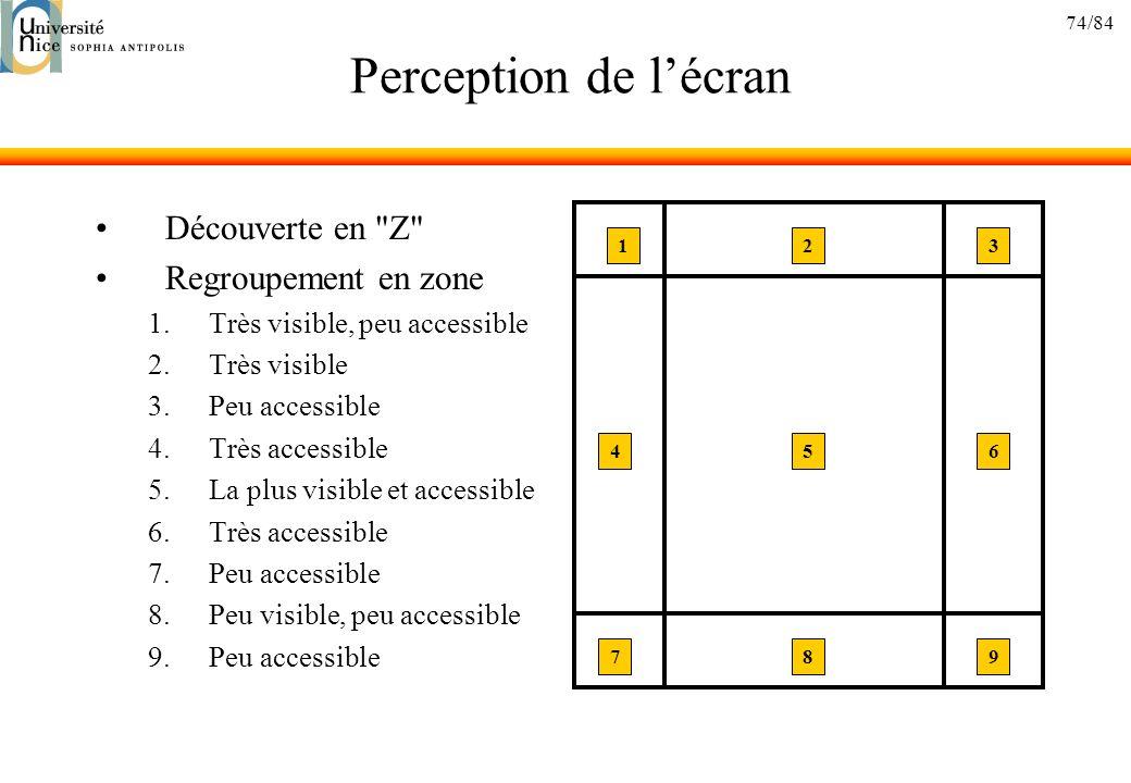 Perception de l'écran Découverte en Z Regroupement en zone
