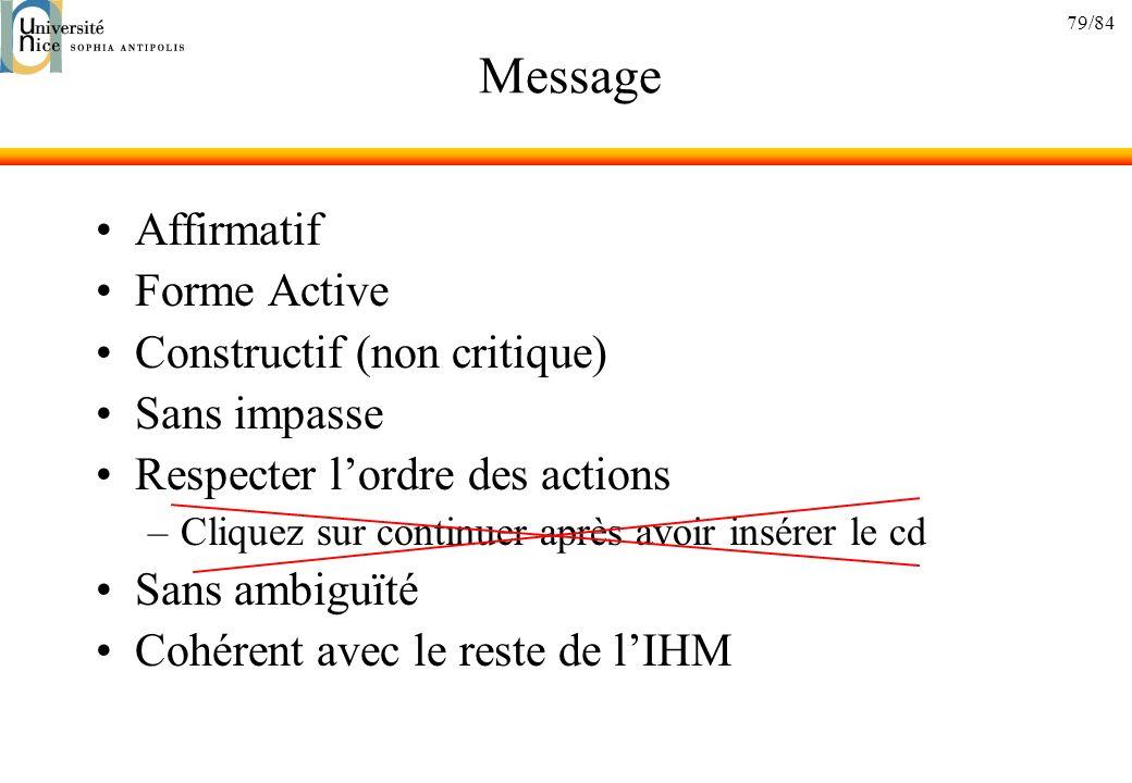Message Affirmatif Forme Active Constructif (non critique)
