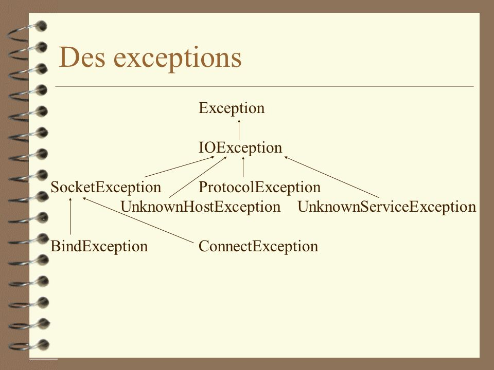Des exceptions Exception IOException SocketException ProtocolException
