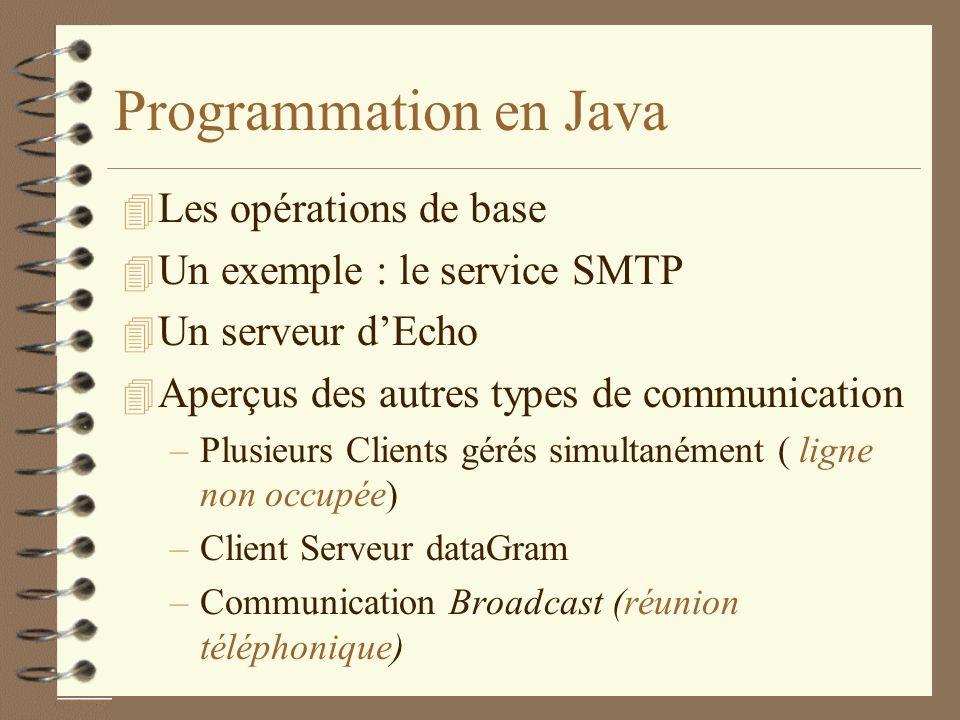 Programmation en Java Les opérations de base