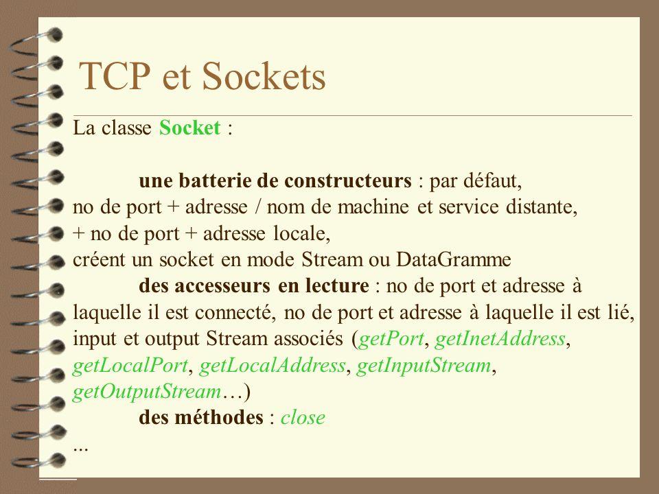 TCP et Sockets La classe Socket :