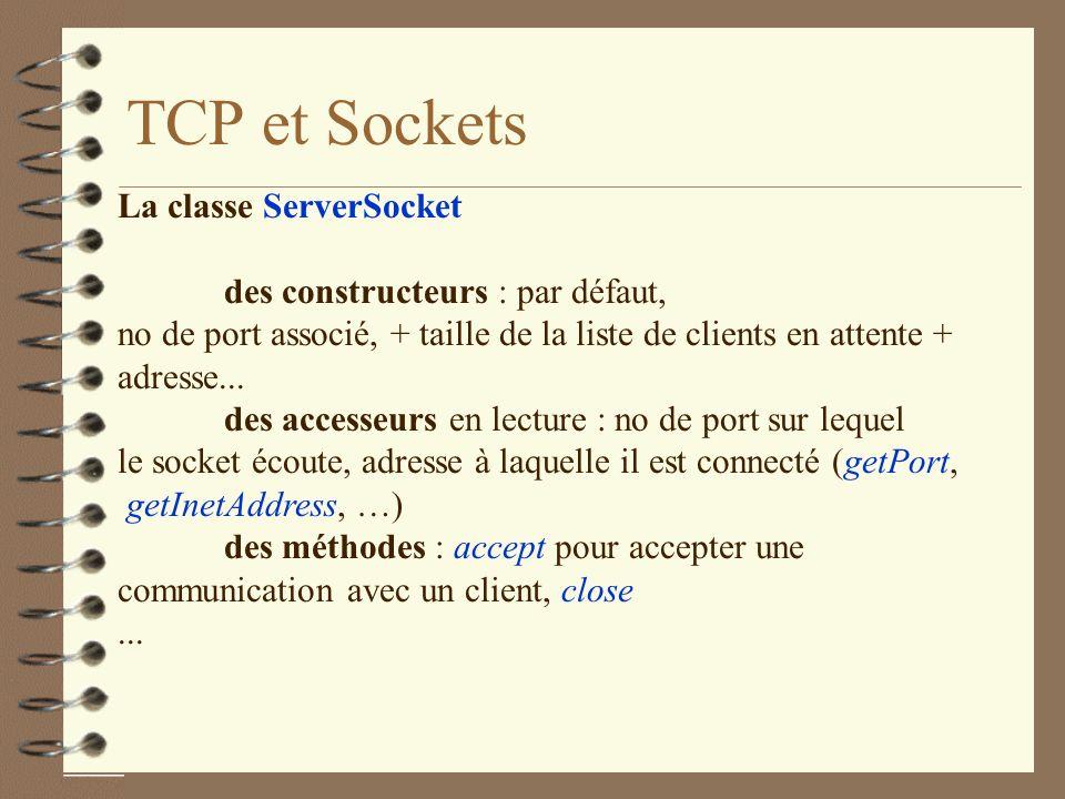 TCP et Sockets La classe ServerSocket des constructeurs : par défaut,