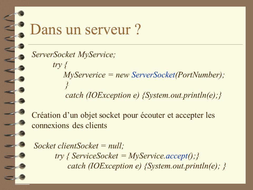 Dans un serveur ServerSocket MyService; try {