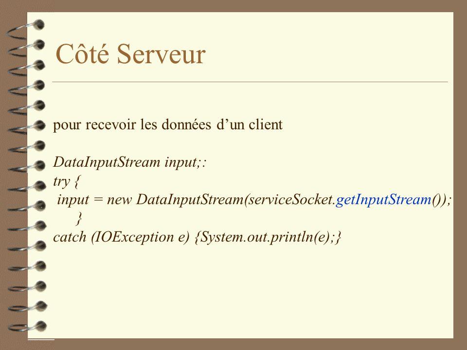 Côté Serveur pour recevoir les données d'un client