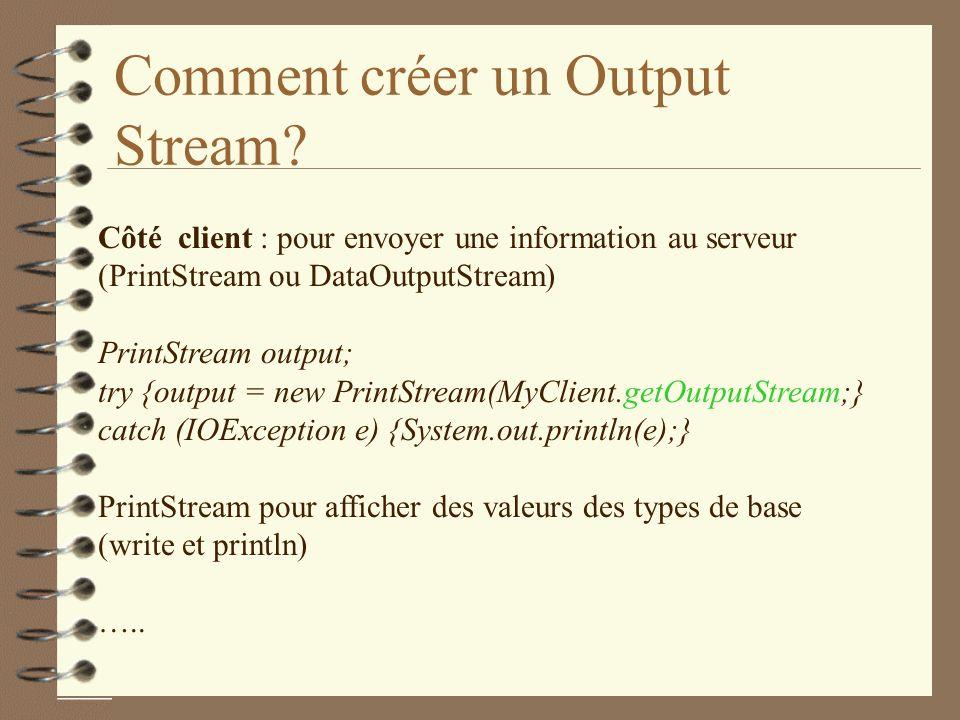 Comment créer un Output Stream