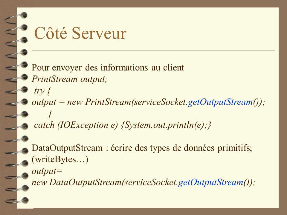 Côté Serveur Pour envoyer des informations au client