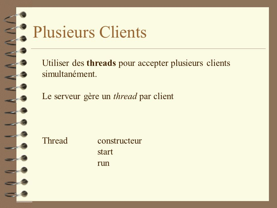 Plusieurs Clients Utiliser des threads pour accepter plusieurs clients
