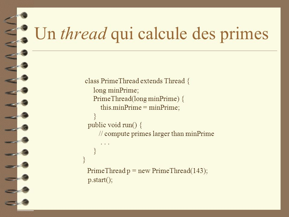 Un thread qui calcule des primes