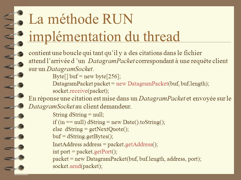 La méthode RUN implémentation du thread