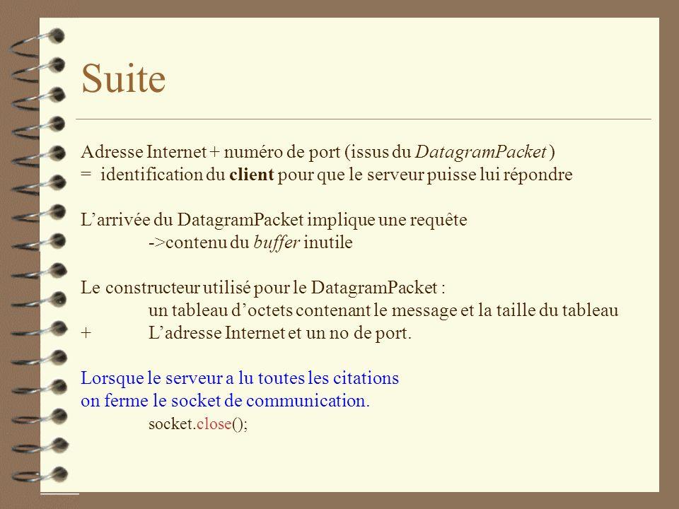 Suite Adresse Internet + numéro de port (issus du DatagramPacket )