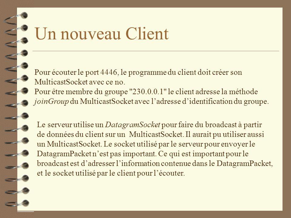 Un nouveau Client Pour écouter le port 4446, le programme du client doit créer son. MulticastSocket avec ce no.