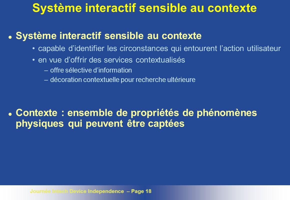 Système interactif sensible au contexte