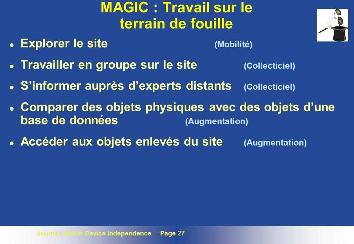 MAGIC : Travail sur le terrain de fouille