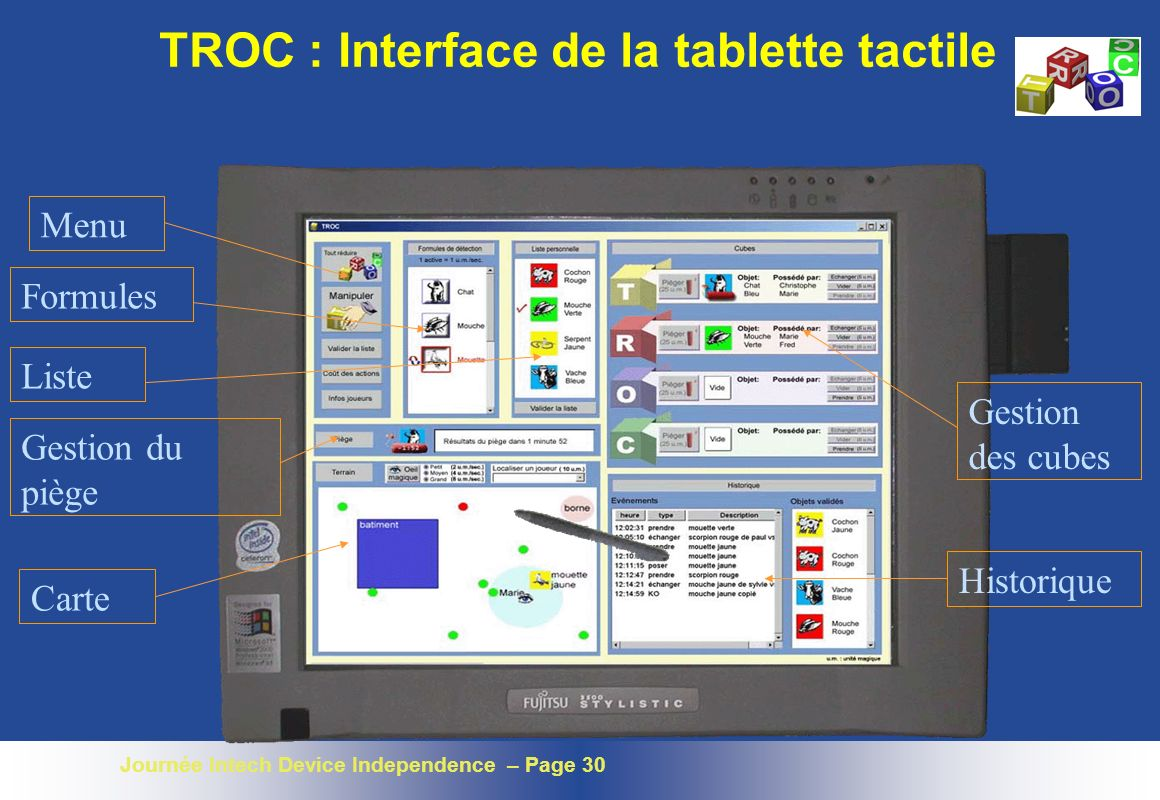 TROC : Interface de la tablette tactile