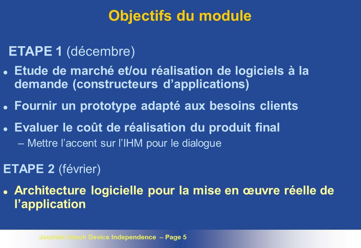 Objectifs du module ETAPE 1 (décembre)