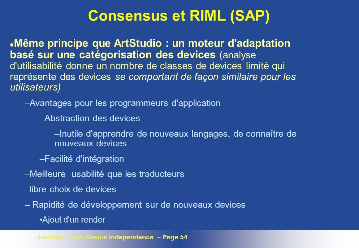 Consensus et RIML (SAP)