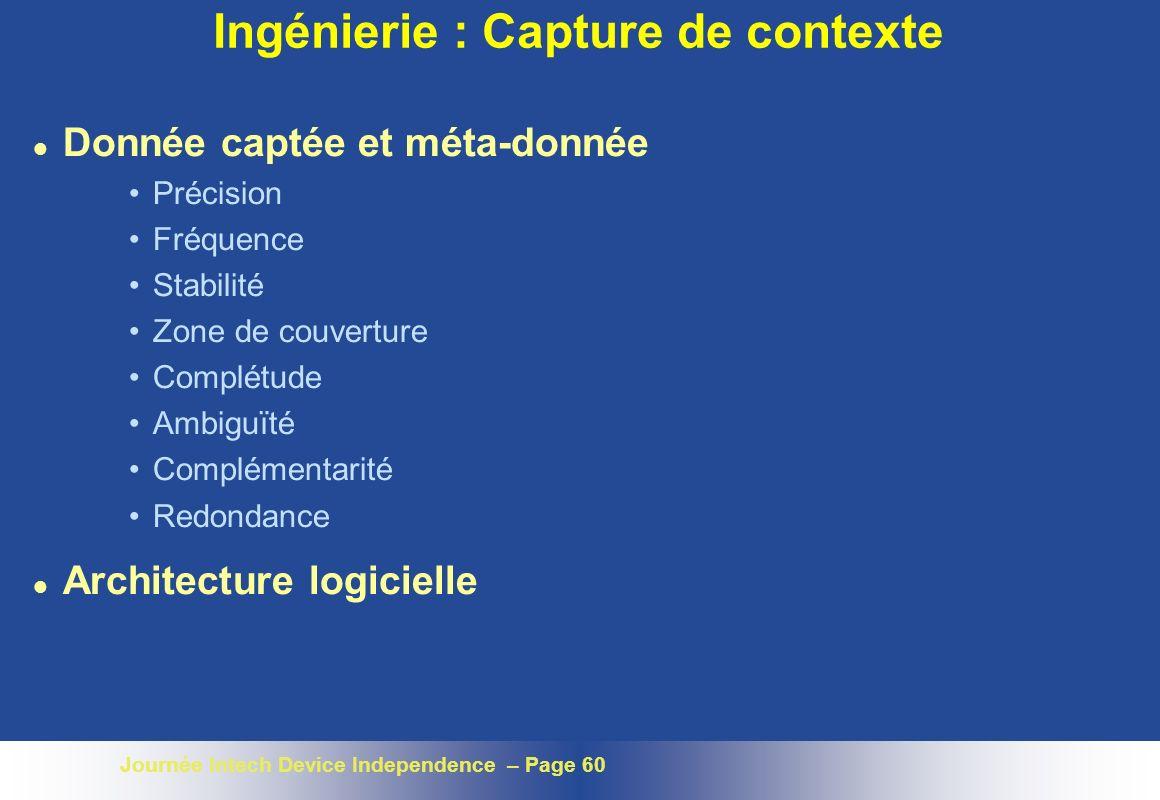 Ingénierie : Capture de contexte