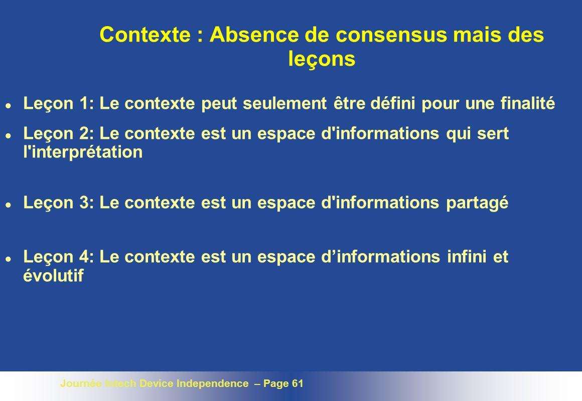 Contexte : Absence de consensus mais des leçons