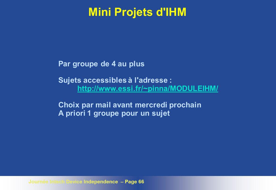 Mini Projets d IHM Par groupe de 4 au plus