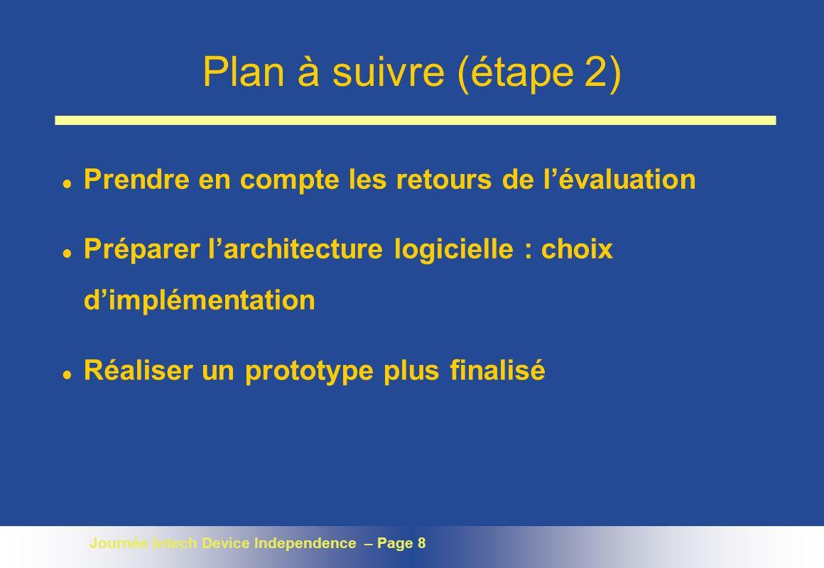 Plan à suivre (étape 2) Prendre en compte les retours de l'évaluation