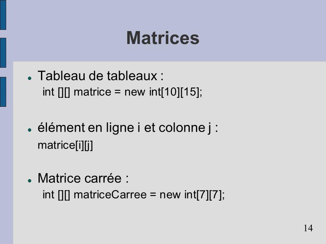 Matrices Tableau de tableaux :