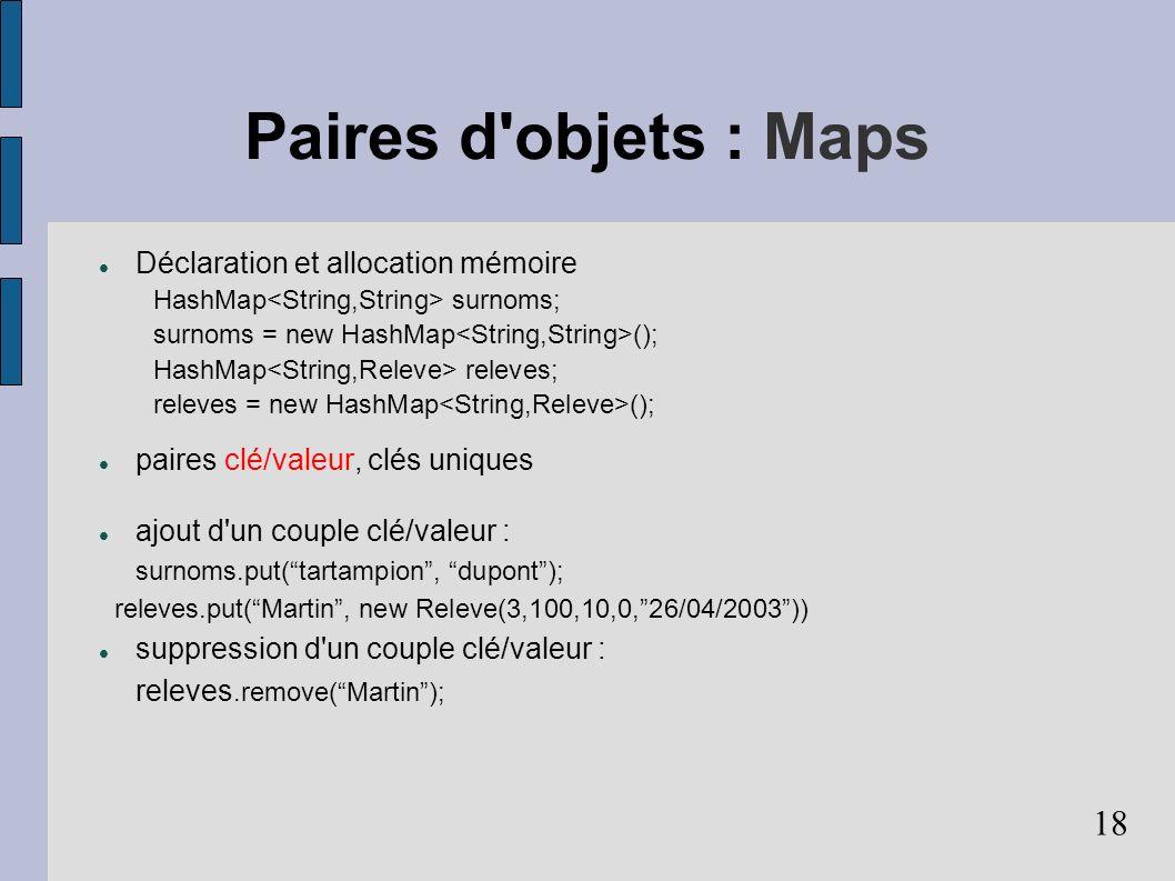 Paires d objets : Maps Déclaration et allocation mémoire
