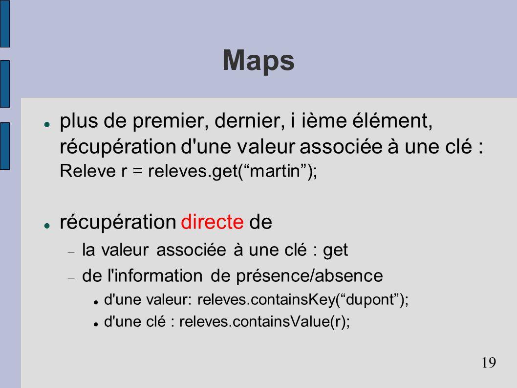 Maps plus de premier, dernier, i ième élément, récupération d une valeur associée à une clé : Releve r = releves.get( martin );