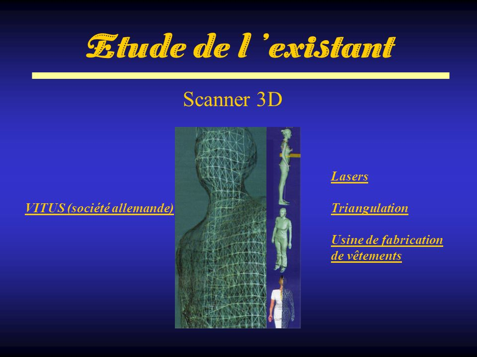 Etude de l 'existant Scanner 3D Lasers Triangulation