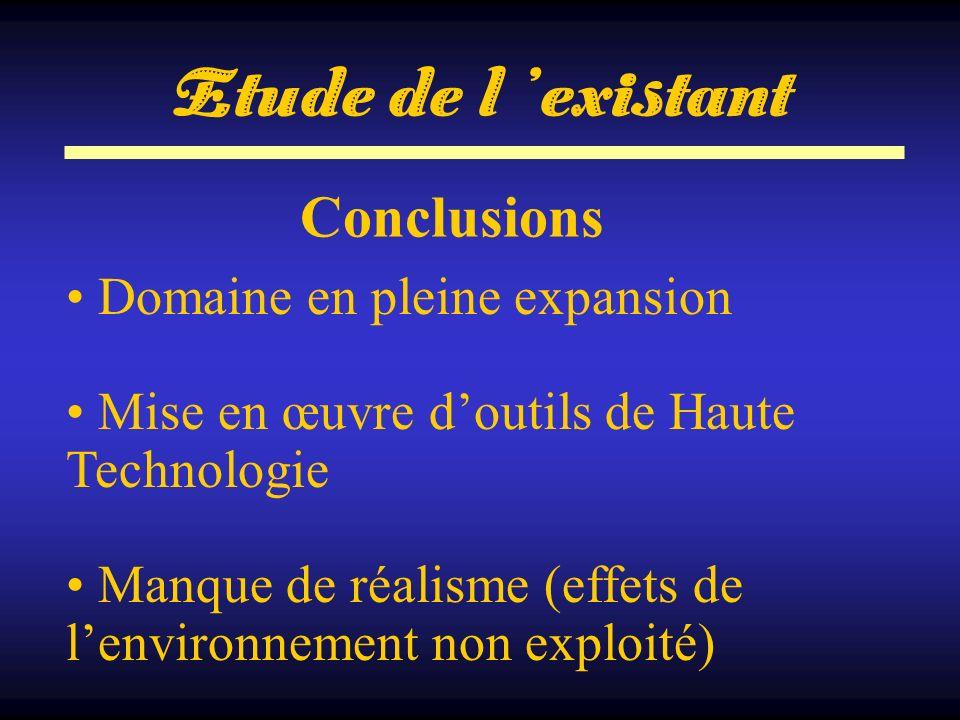 Etude de l 'existant Conclusions Domaine en pleine expansion
