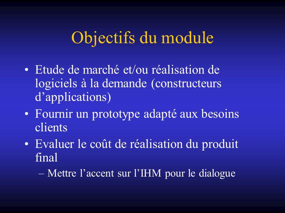 Objectifs du module Etude de marché et/ou réalisation de logiciels à la demande (constructeurs d'applications)