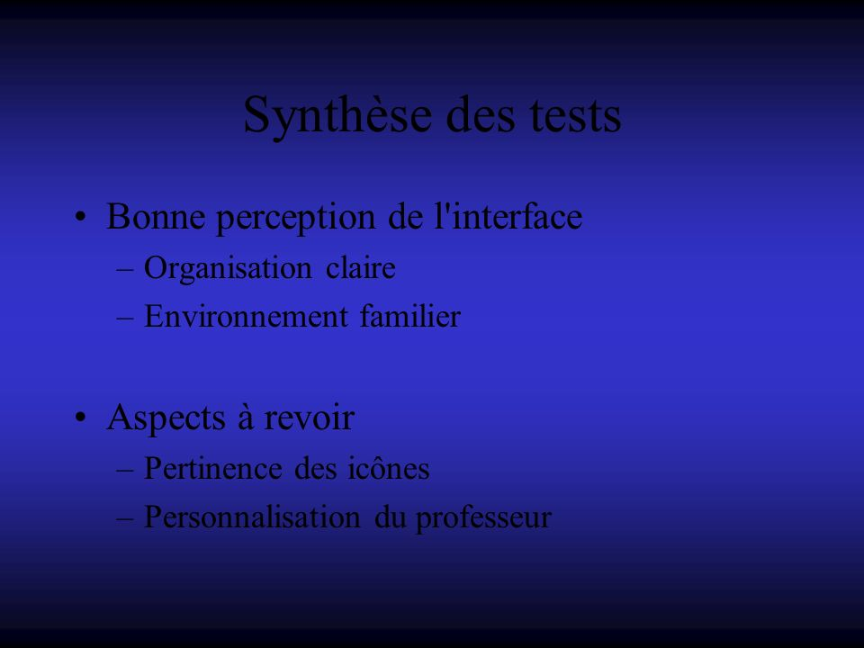 Synthèse des tests Bonne perception de l interface Aspects à revoir