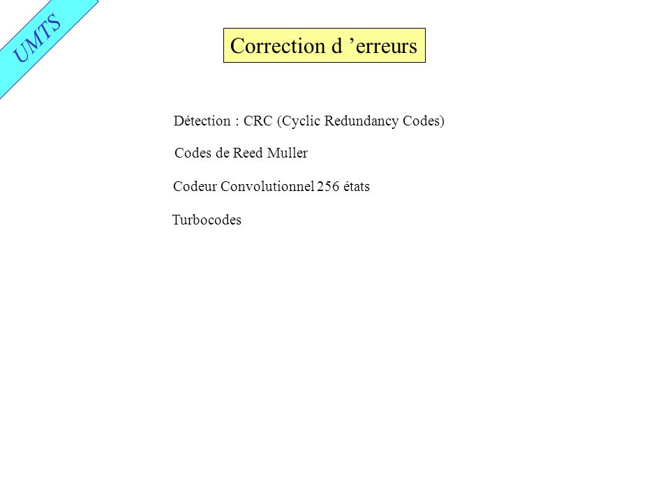UMTS Correction d 'erreurs Détection : CRC (Cyclic Redundancy Codes)