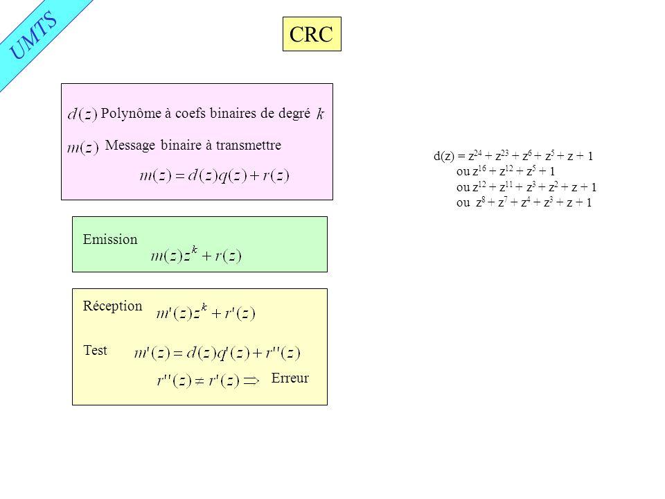 UMTS CRC Polynôme à coefs binaires de degré