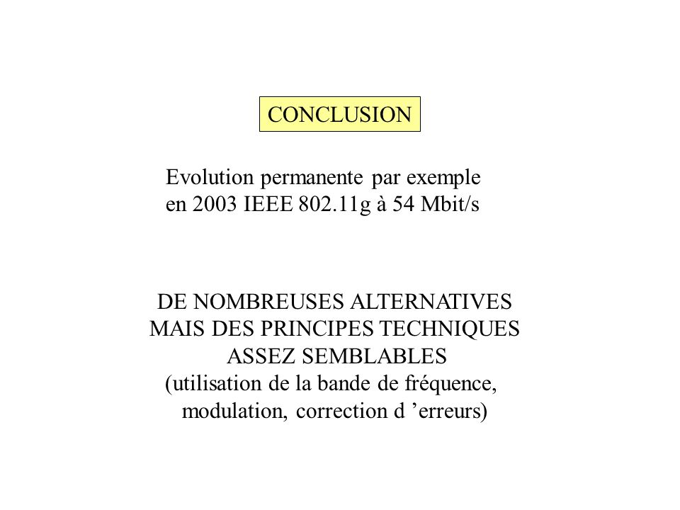 Evolution permanente par exemple en 2003 IEEE g à 54 Mbit/s