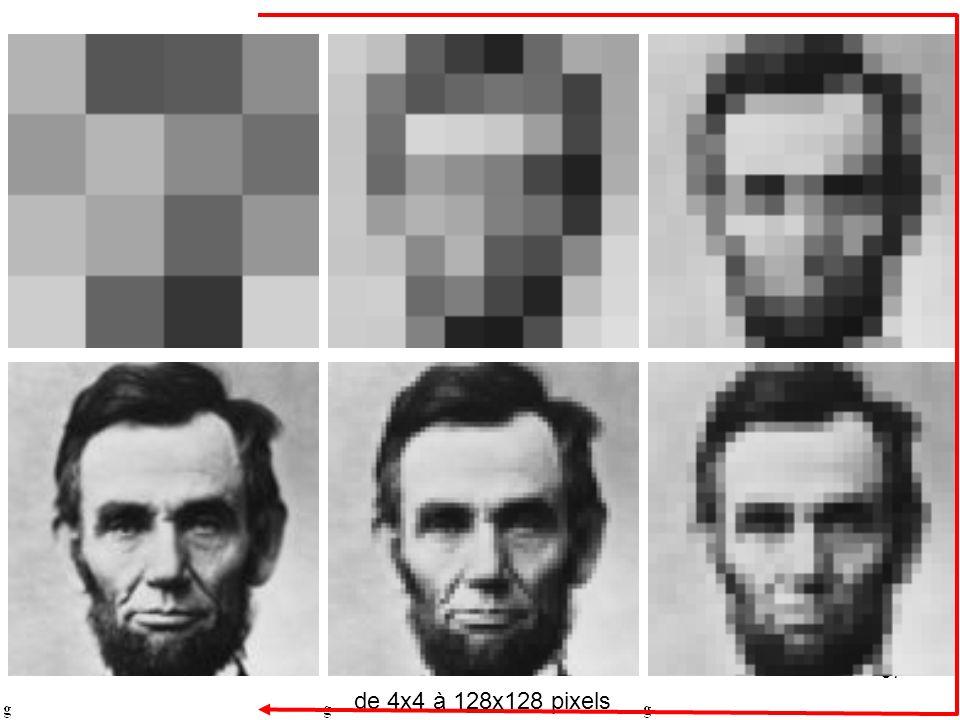 il est possible malgré un échantillonnage grossier de retrouver l'information sur l'image ; toutefois la reconnaissance du portrait en ne se fondant que sur l'image en bas à droite peut poser de grandes difficultés