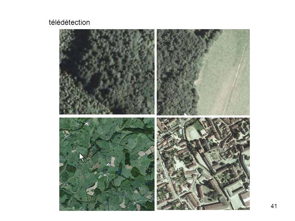 télédétection détecter une forêt des champs des rivières des routes des bâtiments