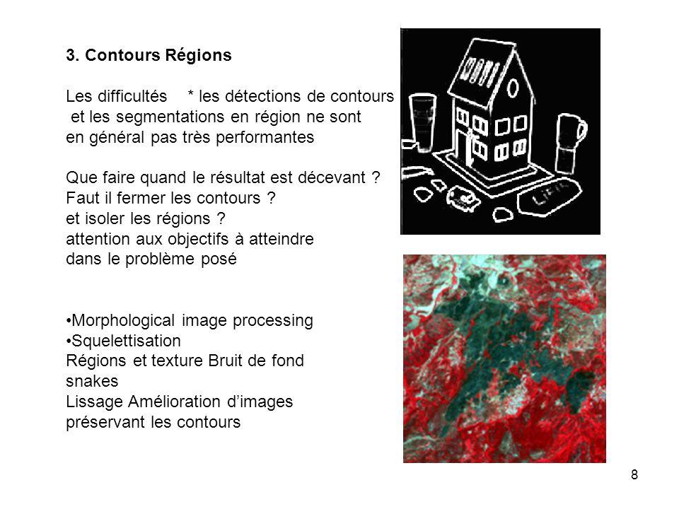 3. Contours Régions Les difficultés * les détections de contours. et les segmentations en région ne sont.