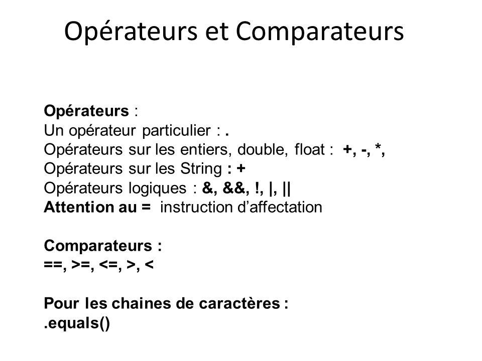 Opérateurs et Comparateurs