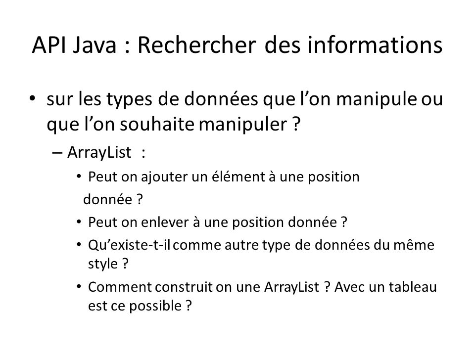 API Java : Rechercher des informations