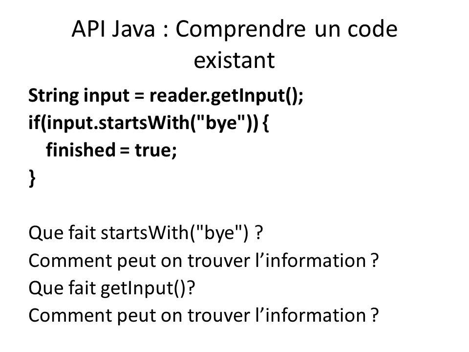 API Java : Comprendre un code existant