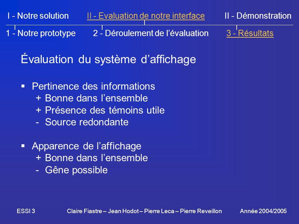 Évaluation du système d'affichage