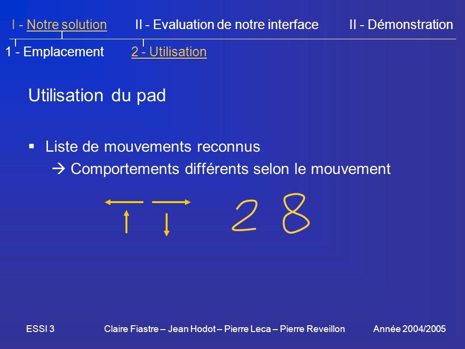 Utilisation du pad Liste de mouvements reconnus
