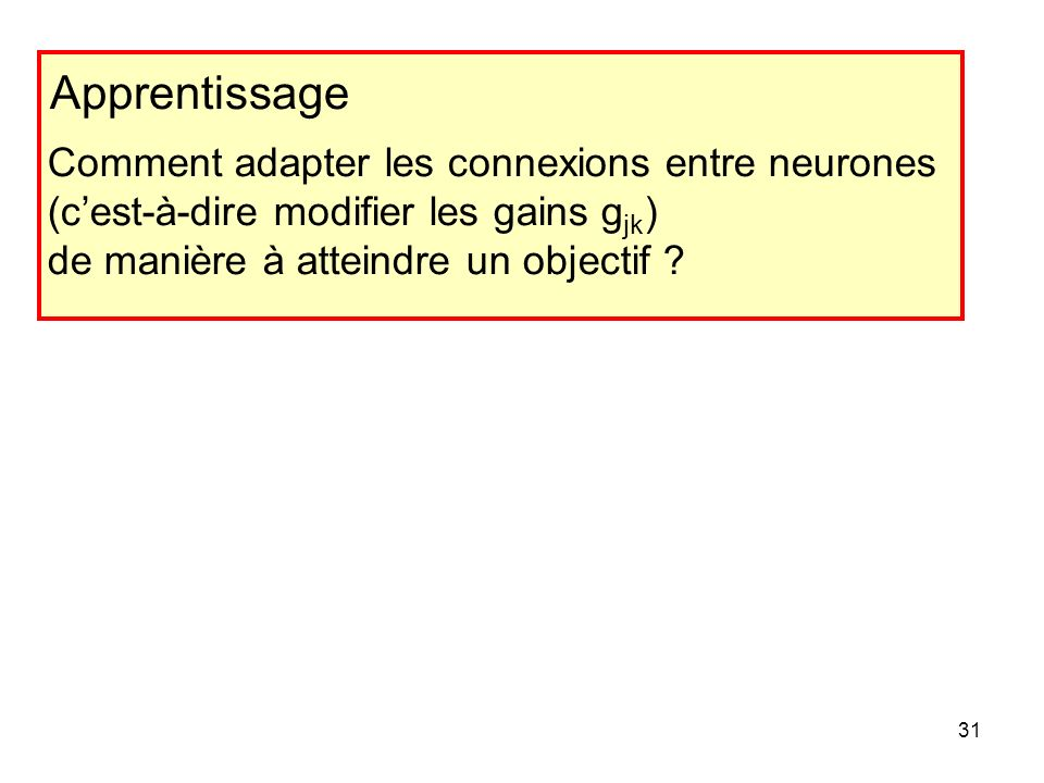 Apprentissage Comment adapter les connexions entre neurones