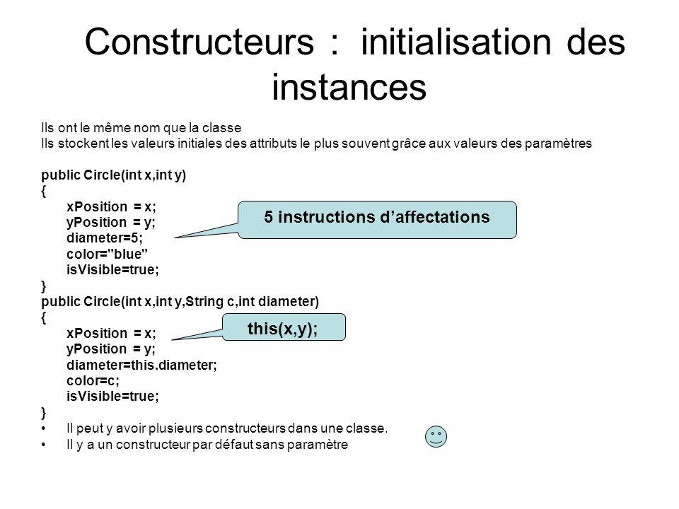 Constructeurs : initialisation des instances