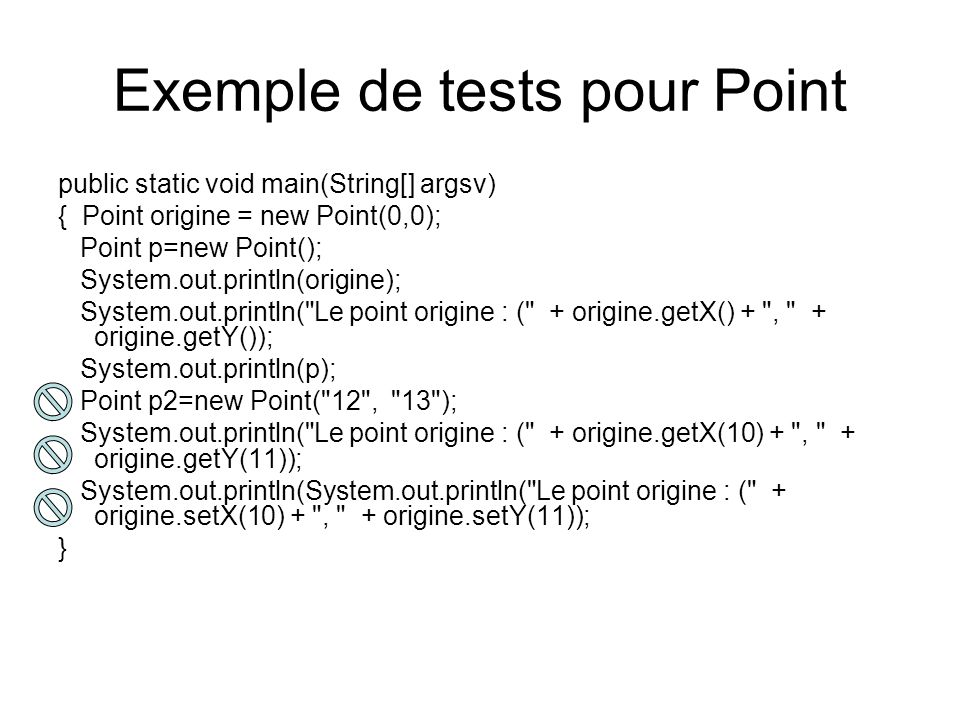Exemple de tests pour Point
