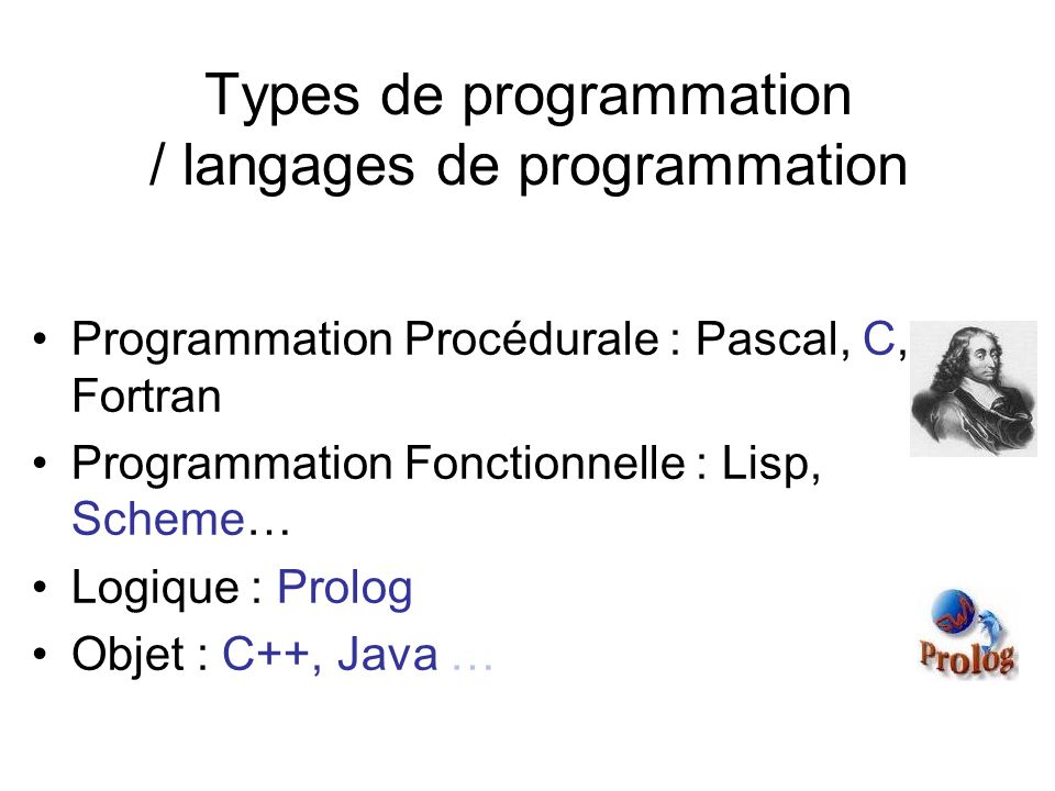 Types de programmation / langages de programmation