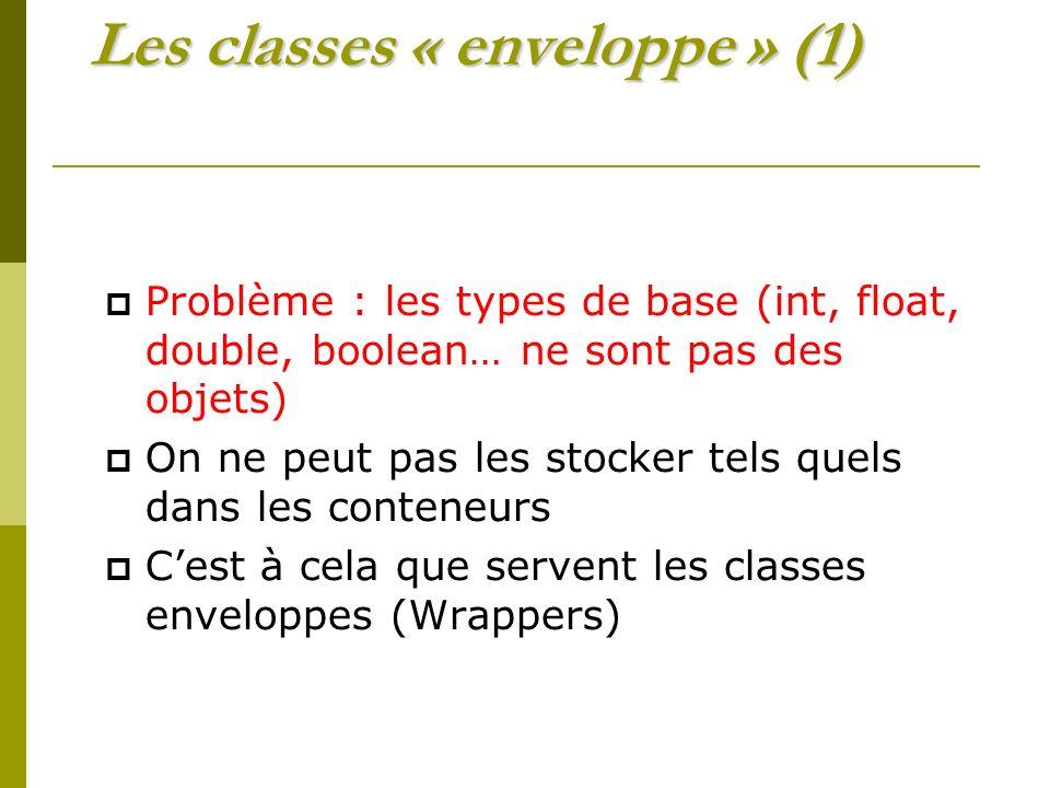 Les classes « enveloppe » (1)