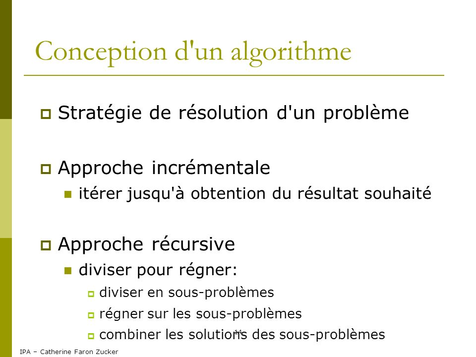 Conception d un algorithme