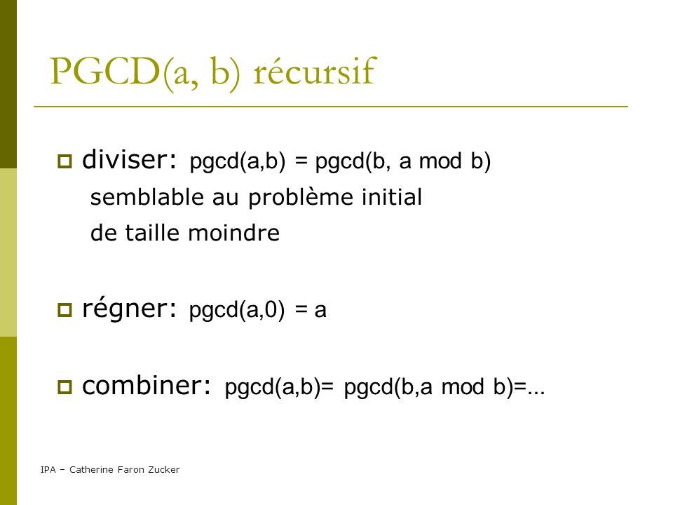 PGCD(a, b) récursif diviser: pgcd(a,b) = pgcd(b, a mod b)