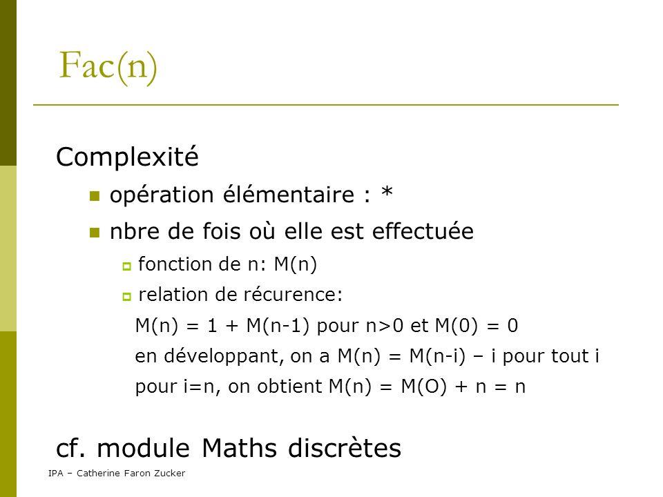 Fac(n) Complexité cf. module Maths discrètes opération élémentaire : *